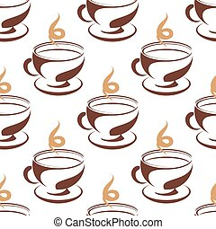 Steaming cup of coffee seamless pattern with a repeat brown...
