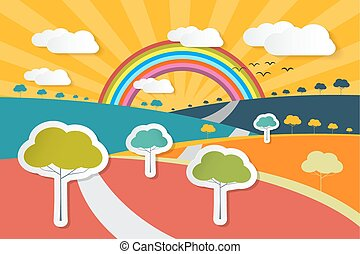 Retro Vector Landscape Illustration - Rural Paper Background with Trees, Rainbow and Clouds