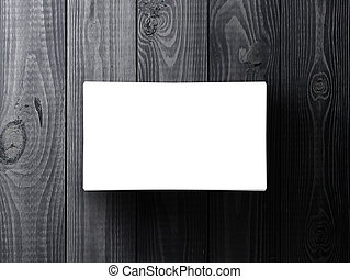 blank business card on gray table