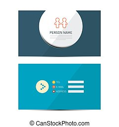 Blue Vector Paper Business Card Template