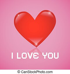 I Love You Vector Red Heart on Pink Background
