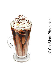Coffee mocha with whipped cream and chocolate on white