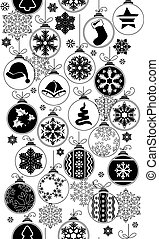 Seamless black-and-white pattern with Christmas balls.