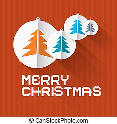Vector Retro Red Background with Christmas Balls and Trees Made from Paper
