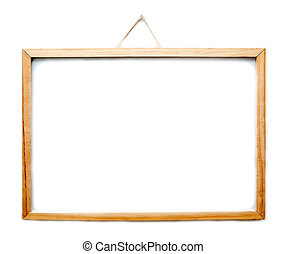Wooden frame whiteboard hanging isolated on white