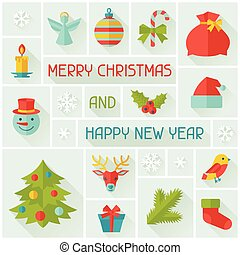 Merry Christmas and Happy New Year invitation card.
