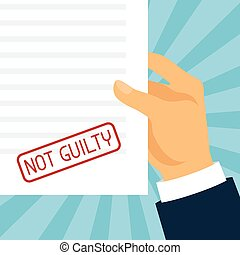 Not guilty concept hand holding paper with stamp