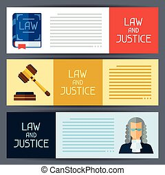 Law and justice horizontal banners in flat design style -...