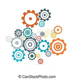 Abstract vector cogs - gears on grey background
