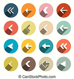Vector Flat Design Arrows with Shadows Set in Circles...