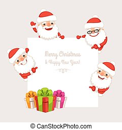 Set of Cartoon Santa Clauses Behind a White Empty Board