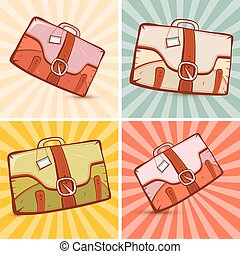 Retro Suitcase Set Illustration on Vintage Background