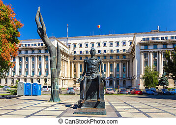 The statue of Iuliu Maniu in Bucharest, Romania