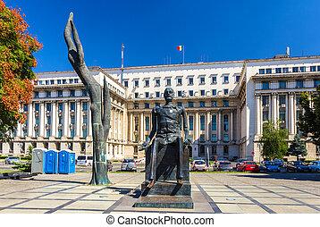The statue of Iuliu Maniu in Bucharest, Romania