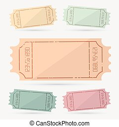 Retro - Vintage Empty Vector Ticket Set Illustration