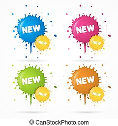 Vector Blue, Orange, Pink and Green Stickers, Blots, Stains...