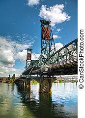Hawthorne, puente levadizo, en, Portland, Oregón,
