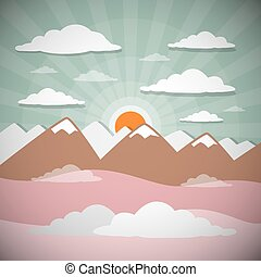 Retro Flat Design Nature Landscape Illustration with Sun,...