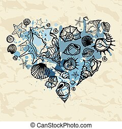 Heart of the shells. Hand drawn illustration - Heart of...