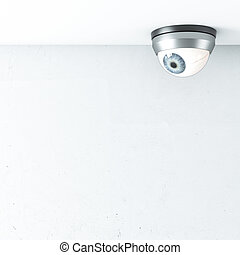 security camera with blue eye on ceiling 3d render