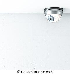 Seguridad, cámara, con, azul, ojo, en, techo,