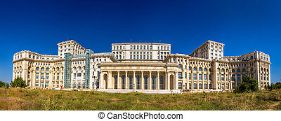 Panorama of The Palace of Parliament in Bucharest, Romania