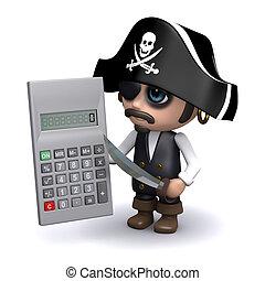 3d Pirate calculates