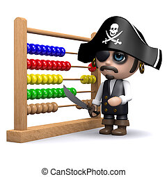 3d Pirate using an abacus - 3d render of a pirate with an...