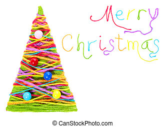 Merry Christmas lettering from colorful thread isolated over...