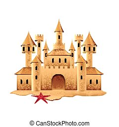 Sand castle isolated on white vector - Sand castle isolated...