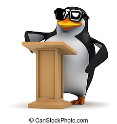 3d Penguin lectures the auditorium - 3d render of a penguin...