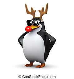 3d Penguin dressed as a reindeer - 3d render of a penguin...