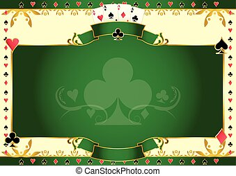 Poker game ace of clubs horizontal background