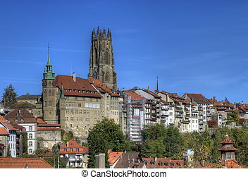 Cathedral of St. Nicholas in Fribourg, Switzerland - View of...