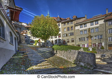 Court-Chemin stairs in Fribourg old city, Switzerland, HDR -...
