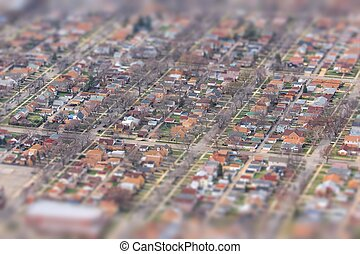 Tilt shift Chicago - Suburban Chicago - residential...