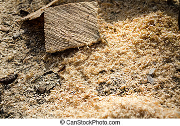 Sawdust - Close up of wooden sawdust