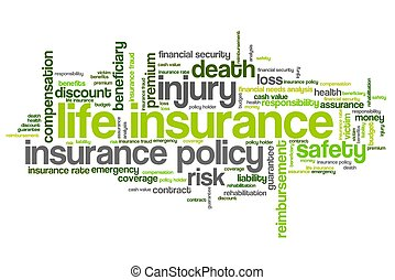 Life insurance concepts word cloud illustration Word collage...