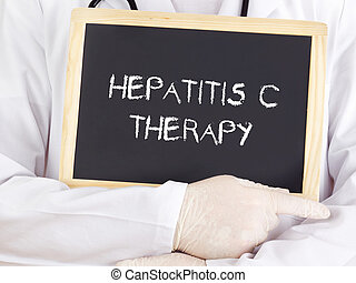 Doctor shows information: hepatitis-c-therapy