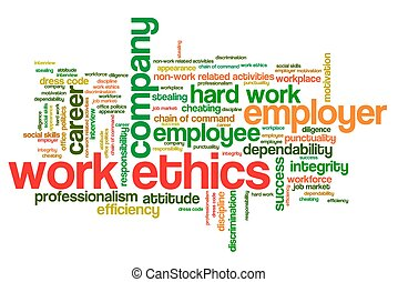 Work ethics issues and concepts word cloud illustration Word...