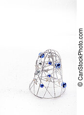 silver bell with blue balls - silver bell with stars and...