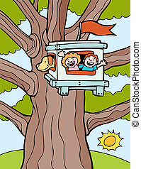 Tree House cartoon kids and a dog.