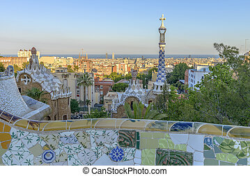 Park Guell in Barcelona, Spain - The stunningly vibrant...