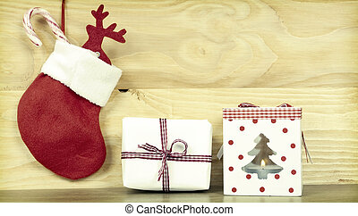 Christmas decorationson wooden background - Christmas...