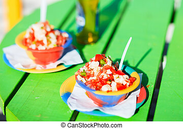 Bahamian conch salad - Two bowls of Bahamian conch salad