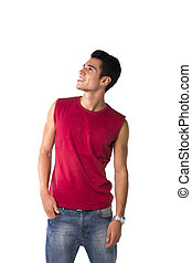 Attractive happy smiling young man in red sleeveless shirt...
