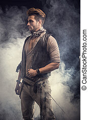Good Looking Young Man in Pirate Fashion Outfit on Gray...