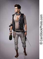 Full Body Shot of Good Looking Young Man in Pirate Fashion...