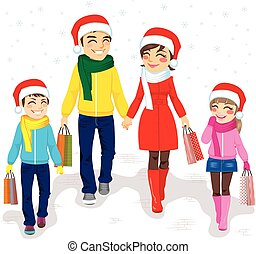 Family Christmas Shopping - Happy family going Christmas...