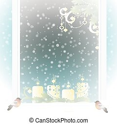 Frosted window with Christmas decoration Vector illustration...